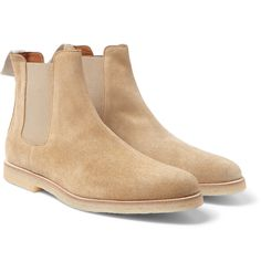 <a href='http://www.mrporter.com/mens/Designers/Common_Projects'>Common Projects</a>' suede Chelsea boots typify the brand's cool, understated approach. Designed with comfortably tapered toes and elasticated side panels, they're set on cushioning rubber-crepe soles that complement the sand hue. The embossed gold serial number is a brand signature.