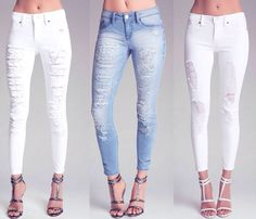 I like Denim Outfit, Ripped Jeans, Summer Outfits, Skinny, Tattered Jeans, 38e07731e5