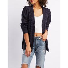 Charlotte Russe Cable Knit Button-Up Shirt Boyfriend Cardigan ($20) ❤ liked on Polyvore featuring tops, cardigans, navy, navy blue cardigans, blue button-down shirts, button-down shirt, long sleeve cardigan and long button down shirt