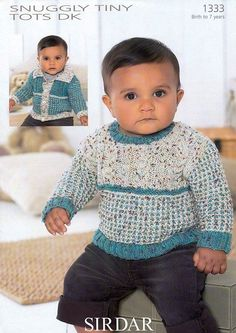 Sirdar Snuggly Tiny Tots DK Knitting Pattern for Sweater - 1333