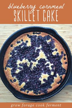 Make this rustic and delicious blueberry cornmeal skillet cake. Recipe is from Cake Stand: Fresh From the Market Farmstead Cakes by Quinn Veon. Iron Skillet Recipes, Cast Iron Recipes, Baking Recipes, Whole Food Recipes, Cake Recipes, Cornmeal Recipes, Sweets Recipes, Baking Ideas, Yummy Treats