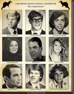 Lebowski High School Yearbook  Jeff Bridges, John Goodman, Steve Buscemi, Julianne Moore, Tara Reid, Ben Gazzara, Philip Seymour Hoffman, Flea  (via Dudeism)