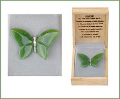 A beautifully hand-carved jade butterfly pin to adorn your lapel! Fashioned from the world's finest nephrite jade. Butterfly Pin, Hand Carved, Jade, Carving, My Love, Products, Wood Carvings, Sculpting, Beauty Products