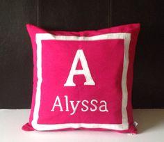 Nursery Decor Girl, Nursery Bedding, Dark Pink Pillows, Pink Monogram Pillows, Pink Name pillows, Baby shower Gift