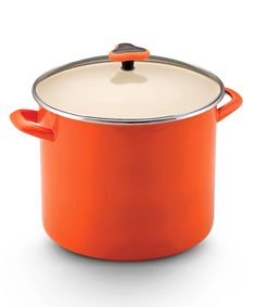 This Orange 12-Qt. Covered Stockpot by Rachael Ray is perfect! #zulilyfinds