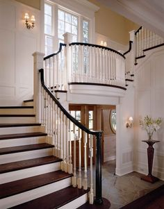 Ideas for hall stairs and landing staircase traditional  with stone flooring entranc