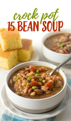 Crock Pot 15 Bean Soup Recipe - Ham and Beans Soup Crock Pot 15 Bean Soup Recipe – This easy bean soup recipe is the ultimate comfort food and a per 15 Bean Soup, Soup Beans, Ham And Bean Soup, Ham Soup, Bean Soup Recipes, Beans Recipes, Sopa Crock Pot, Crock Pot Slow Cooker, Slow Cooker Recipes