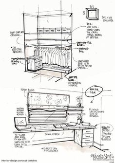 Interior design drawings.