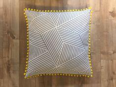 Dog Bed Pillow (Medium) - Gray and White Geometric, Yellow Trim by MilkBonesAndCoffee on Etsy https://www.etsy.com/listing/497603603/dog-bed-pillow-medium-gray-and-white
