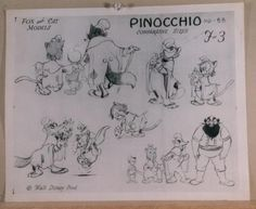 LOT OF 11 PINOCCHIO PRODUCTION MODEL SHEETS