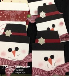 Cute Handmade Snowman Gift Card Holders...created by Becky Jensen: stamp that.