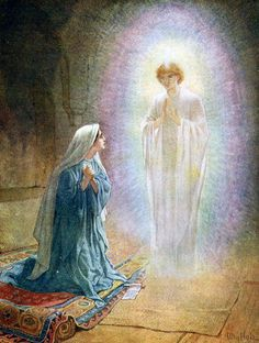The Angel Gabriel's announcement to the young virgin Mary, who accepts the will of God for her life.