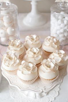 Cupcakes - Ivory & soft Pink Dessert Table - So pretty! White Cupcakes, Pretty Cupcakes, Beautiful Cupcakes, White Wedding Cupcakes, Mocha Cupcakes, Strawberry Cupcakes, Velvet Cupcakes, Yummy Cupcakes, Vanilla Cupcakes