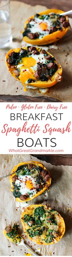 NO NEED TO PRINT These Paleo Breakfast Spaghetti Squash Boats are a comforting meal filled with all your favorite breakfast items, while being healthy and delicious! Healthy Breakfast Recipes, Brunch Recipes, Paleo Recipes, Real Food Recipes, Free Recipes, Healthy Brunch, Healthy Lunches, Meal Recipes, Recipies