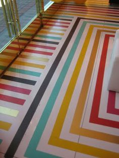 Duct tape floor: this was actually done with vinyl tape in a Kate Spade store. Could be jus as awesome with Duct Tape!