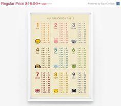 SALE 20 OFF Multiplication table number 8x10 wall art por loopzart