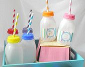 "12 Plastic ""No Spill"" Milk Bottles- 8 oz- Perfect for small children"
