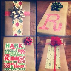 DIY Christmas gift wrap - I had so much fun with these!