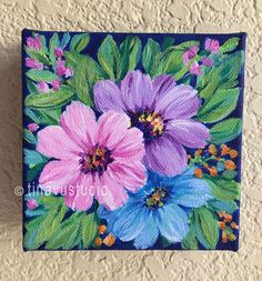 New home housewarming gift acrylic floral painting hand Small Canvas Paintings, Acrylic Painting Flowers, Small Canvas Art, Mini Canvas Art, Acrylic Art, Acrylic Painting Canvas, Easy Acrylic Paintings, Tree Paintings, Knife Painting