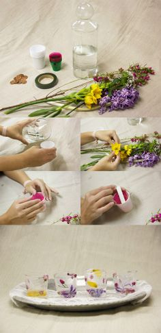 Frozen flower shot glass DIY using fresh flowers, plastic cups and distilled water. Perfect for summer weddings, BBQs and holiday gatherings.