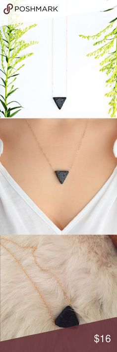 Triangle Lava Stone Gold Oil Diffuser Necklace Triangle Lava Stone Gold Oil Diffuser Necklace! New! Place a drop of your favorite oil Blend & enjoy its smell & benefits ! I put a drop of oil on a day & it holds the fragrance about 8 hours! Jewelry Necklaces