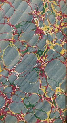 Vintage 19th c. marbled paper, Spanish on Italian pattern
