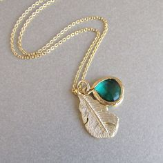 Gold Leaf and Emerald Necklace