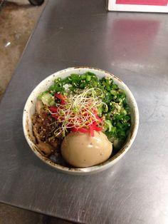 Rice bowl with negi, ajitama, alfalfa sprouts, benishoga. (work lunch)