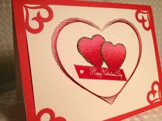 Valentine card stitched hearts