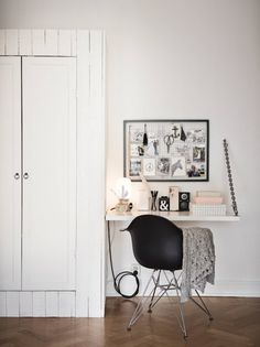 Grey, White and Blush small office space