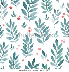 Hand drawn watercolor texture. Watercolor seamless pattern with leaves. Cute korean, Japanese design for wallpaper, textile, fabric, background. Seamless blue leaf pattern with berries. Leaves pattern
