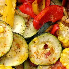 A easy roasted vegetable recipe that you can serve warm or the next day in a salad.. Roasted Mediterranean Vegetables Recipe from Grandmothers Kitchen.