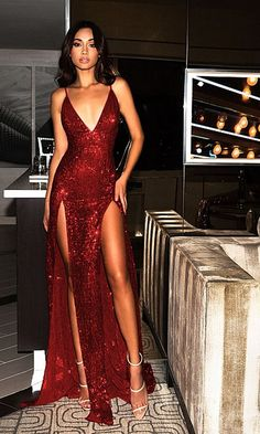 Mystery Girl Red Sequin Spaghetti Strap Plunge V Neck Backless Double Slit Maxi Dress