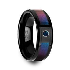 KLEIN Black Ceramic Ring with Blue & Purple Color Changing Inlay and Alexandrite Setting - 8mm