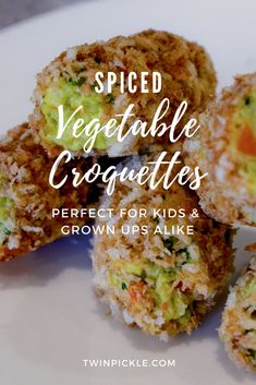 Easy for little ones to pick up but still packed with the goodness my boys have been getting from their favorite veg purees. These kid friendly spiced vegetable croquettes have been a real hit, and are perfect for batch cooking and storing in the freezer. Great for BLW and party appetizers alike!