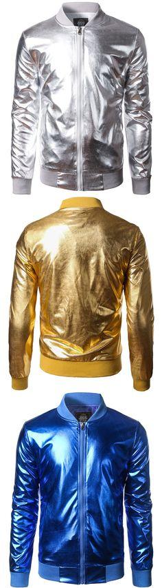 $16.93,Stand Collar Zip Up Metallic Bomber Jacket | rosewholesale,rosewholesale for men, men's jacket, fall outfits | #rosewholesale #jackets #mensoutfit #fashionfallmens