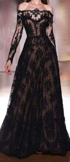 Black lace gown that I want! Beautiful Gowns, Beautiful Outfits, Black Wedding Dresses, Formal Dresses, Black Lace Gown, White Lace, Dream Dress, Pretty Dresses, Evening Dresses