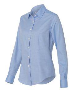Van Heusen Ladies Blue Long Sleeve Ringspun Twill Shirt