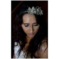 16 Braunton Silver Flower Crystal Bead Headdress Head Band (£9.99) ❤ liked on Polyvore featuring accessories, hair accessories and metallic