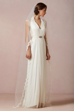 Airy Lace Veil in Bride Veils & Headpieces at BHLDN