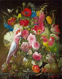 Artist: Yana Movchan, Title: The Time to Notice Beauty Art Floral, Botanical Art, Botanical Illustration, Share Pictures, Animated Gifs, Still Life Flowers, Magic Realism, Renaissance Paintings, Turkish Art