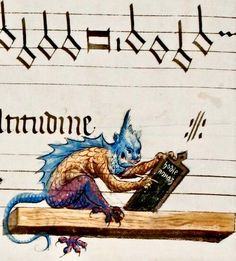 A strange beast writes in the Holy Bible in the margins of a medieval musicial manuscript. detail of f. Medieval Books, Medieval Manuscript, Medieval Art, Renaissance Art, Medieval Music, Medieval Drawings, Illuminated Letters, Illuminated Manuscript, Wax Tablet