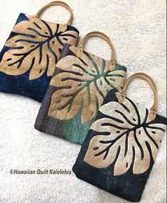 New Sewing Patterns Backpack Tote Purse Ideas Hawaiian Quilt Patterns, Hawaiian Quilts, Patchwork Bags, Quilted Bag, Tote Backpack, Tote Purse, Reverse Applique, Fabric Bags, Applique Quilts