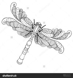 Zentangle stylized dragonfly. Ethnic patterned vector