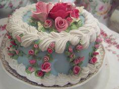 (shortcake) SHABBY COTTAGE PINK ROSE DECORATED FAKE CAKE CHARMING!!