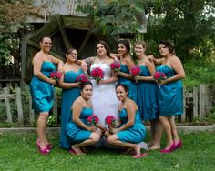 Teal and fuchsia wedding