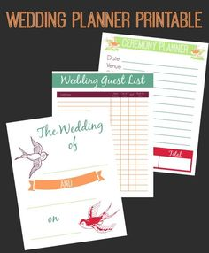 This #FreePrintable Wedding Planning Binder comes in 3 color ...