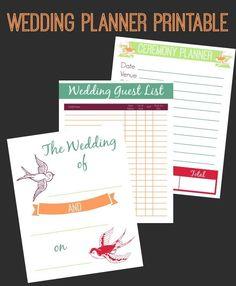 Wedding Planner Printable Set  http://www.whitelightsonwednesday.com/2014/03/wedding-planning-printables/
