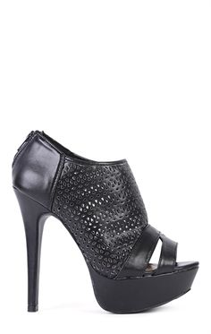 Deb Shops Faux Leather Cutout Platform Booties with Open Toe $39.00