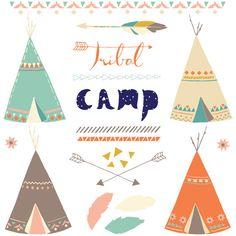 Tribal Camp CLIP ART SET von moogbee auf Etsy, $7.95